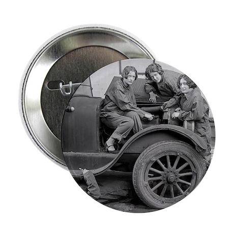 """Young Lady Auto Mechanics 2.25"""" Button"""