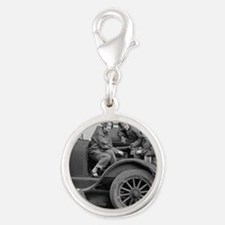 Young Lady Auto Mechanics Silver Round Charm