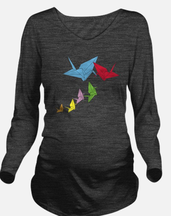 Origami Family Long Sleeve Maternity T-Shirt
