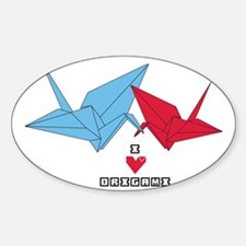 I LOVE ORIGAMI Sticker (Oval)