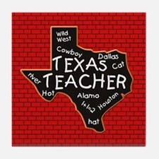 Texas Teacher Blackboard Tile Coaster