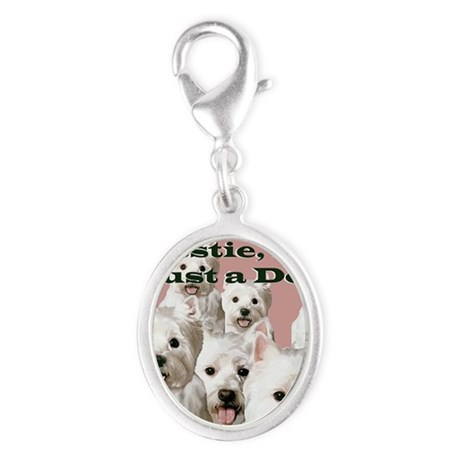 westy just a dog shirt Silver Oval Charm