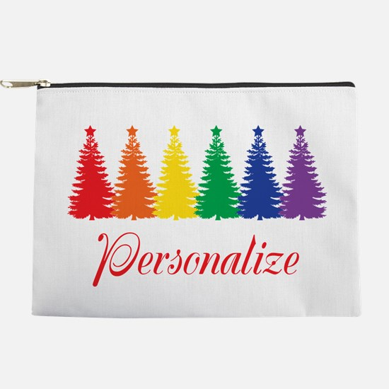 Rainbow Xmas Trees Makeup Pouch