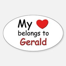 My heart belongs to gerald Oval Decal