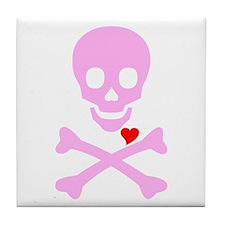 Pink Pirates Love Tile Coaster