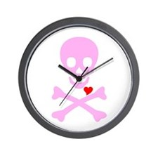 Pink Pirates Love Wall Clock