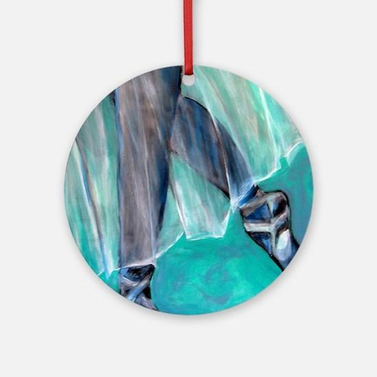 blue ballet tshirt Round Ornament