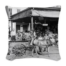 New Orleans French Market Woven Throw Pillow
