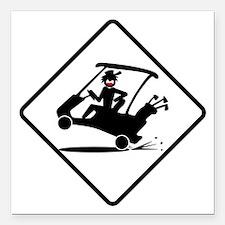 "golf-cart-35 Square Car Magnet 3"" x 3"""