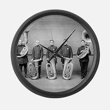 Police Band Tuba Players Large Wall Clock