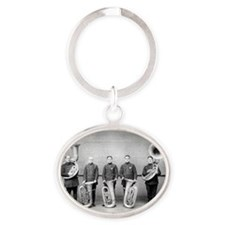 Police Band Tuba Players Oval Keychain