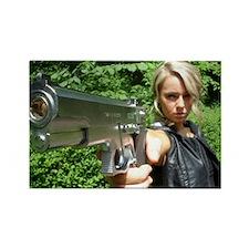 Jade pointing pistol at camera Rectangle Magnet