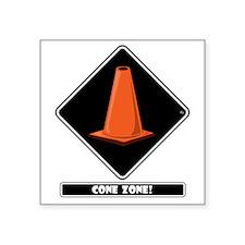 """cone-zone-dmnd-bk Square Sticker 3"""" x 3"""""""