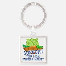 supportFarmersMkt Square Keychain