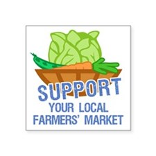 "supportFarmersMkt Square Sticker 3"" x 3"""