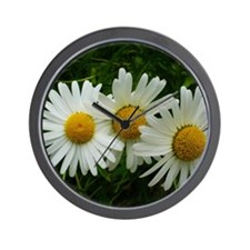 White Daisy Trio Wall Clock