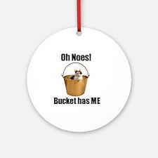 Bucket Cat Round Ornament