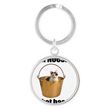 Bucket Cat Round Keychain