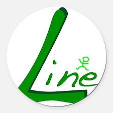 Line Handwritten Green Round Car Magnet
