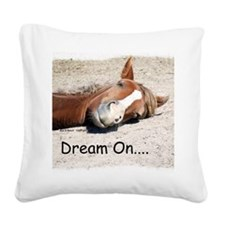 Dream On Sleeping Horse Square Canvas Pillow