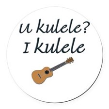 funny ukulele Round Car Magnet