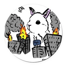 bunny monster colored png Round Car Magnet