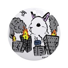 bunny monster colored png Round Ornament