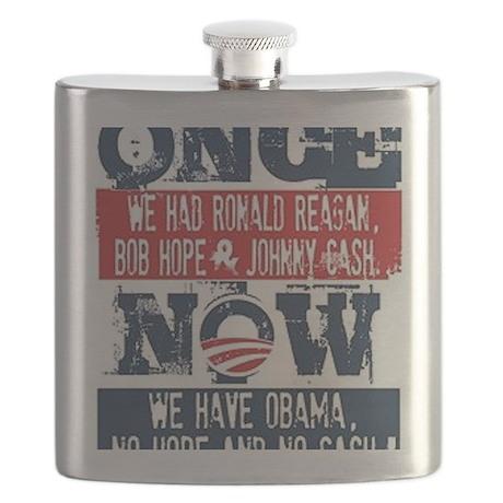 Obama, No Hope, No Cash (large) Flask