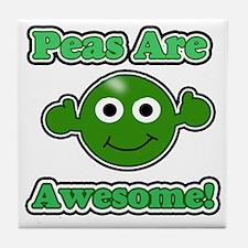 Peas are awesome 1 dark Tile Coaster