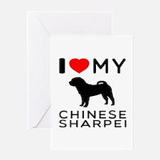 I Love My Chinese Sharpei Greeting Card