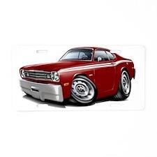1970-74 Duster Maroon-White Aluminum License Plate