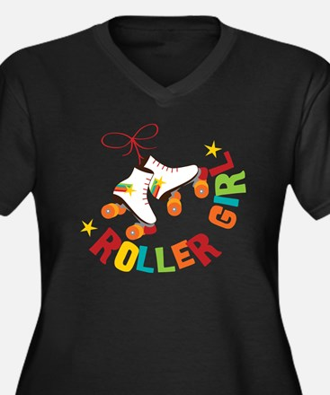 Roller Skate Women's Plus Size Dark V-Neck T-Shirt