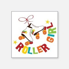 "Roller Skate Girl Square Sticker 3"" x 3"""