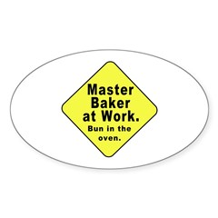 Master Baker - Bun in the Oven Oval Decal