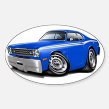 1970-74 Duster Blue-White Car Sticker (Oval)