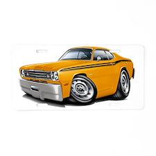 1970-74 Duster Orange Black Aluminum License Plate