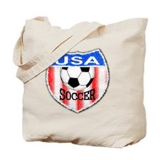 USA Soccer Shield stripes red white and b Tote Bag