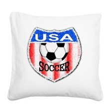 USA Soccer Shield stripes red Square Canvas Pillow