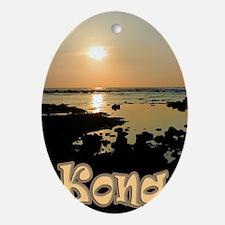 KonaSunsetGold Oval Ornament