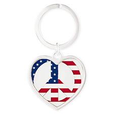Peace Sign Symbol USA Flag Heart Keychain