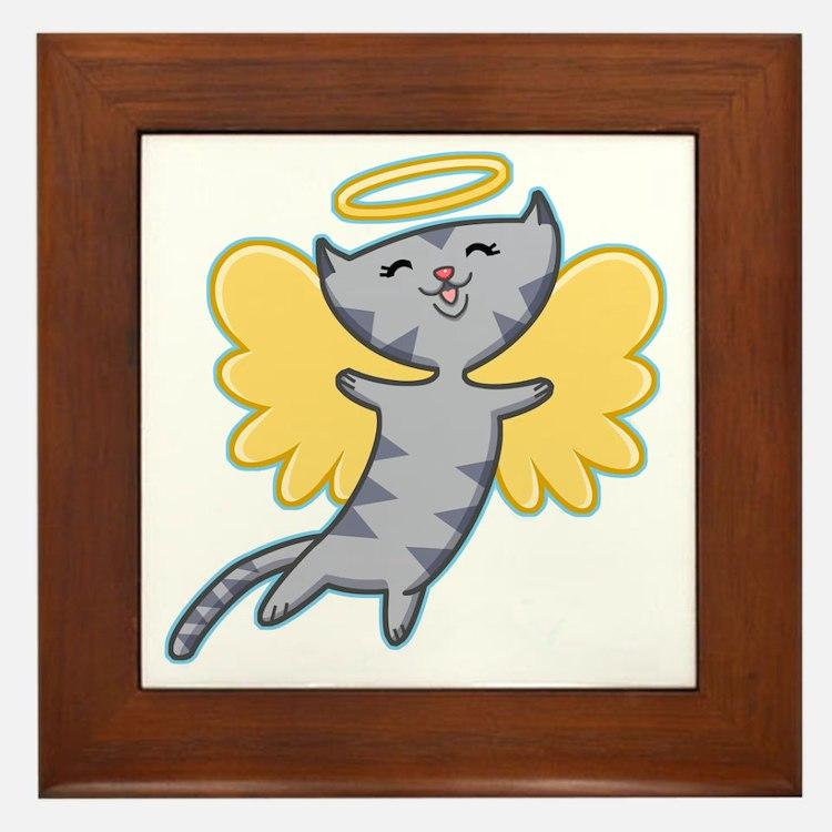 Cat Angel Framed Tile