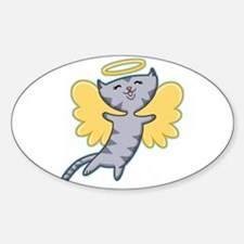 Cat Angel Oval Decal