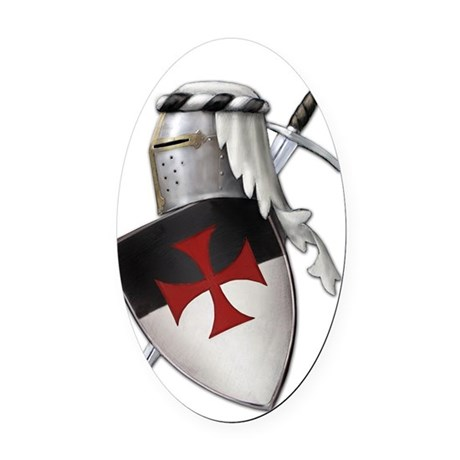 templar shield with cross new big Oval Car Magnet