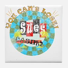 sues casino Tile Coaster