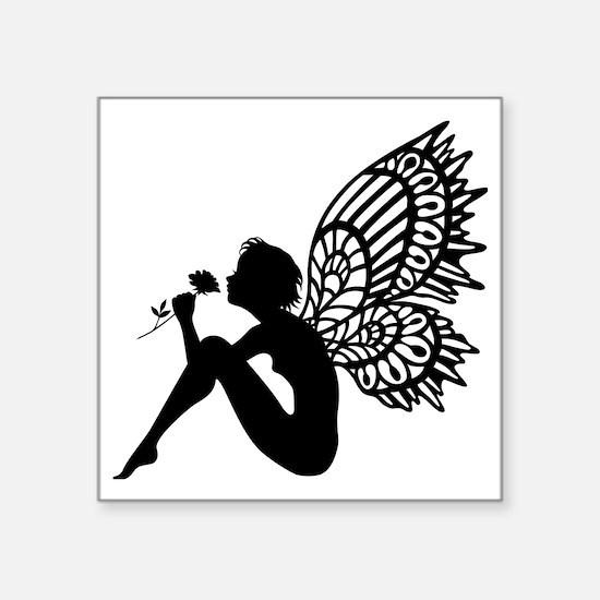 "Fairy Smells Rose Square Sticker 3"" x 3"""