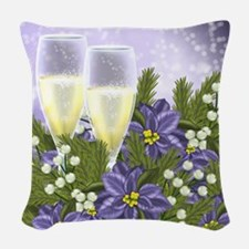 Purple Poinsettia And Champagne Woven Throw Pillow