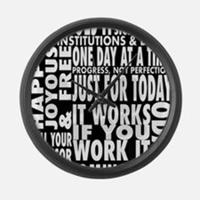 12 STEP SLOGONS IN BLACK Large Wall Clock
