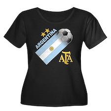 argentin Women's Plus Size Dark Scoop Neck T-Shirt