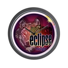 eclipse wolf shadow shirts by twibaby Wall Clock
