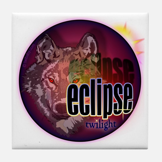 eclipse wolf shadow for clocks and bu Tile Coaster